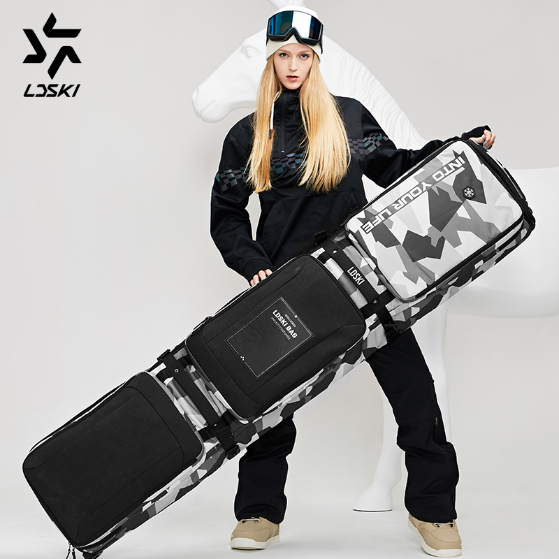 LDSKI Wheeled Ski Bag Snowboard Bag TEAM-Series Helmet Boot Winter Travel Bag Waterproof Material Dry Wet Separated Sections