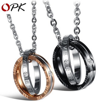 Brand couple necklace men and women pendant inlaid  tiff titanium steel couple necklace with Chain Necklace fashion men jewelry