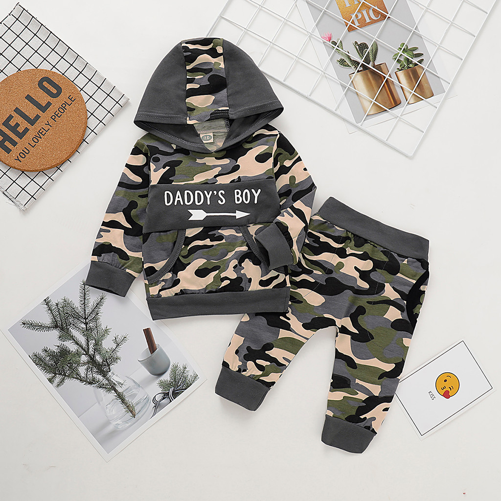Baby Girls Clothes Infant Baby Boys Camouflage Letter Pullover Hoodie T-shirt Tops+Pants Outfits Winter Newborn Clothes Suit
