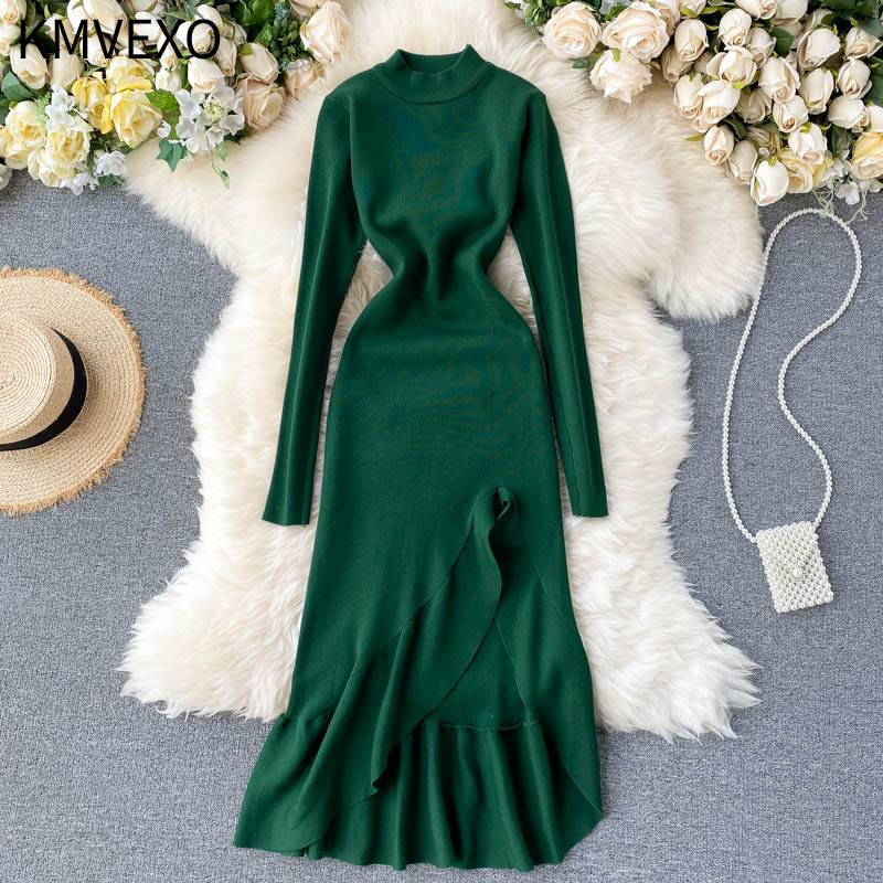 KMVEXO 2020 New Autumn Winter Elegant Women Ruffled Knitted Turtleneck Midi Dress Office Lady Asymmetric Split Mid-Calf Dress