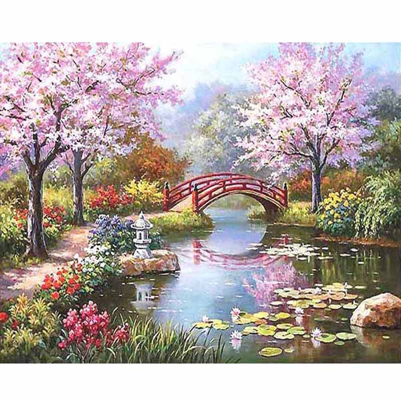 Frame Fairyland Painting By Numbers Kits For Adult Unique Gift Landscape Acrylic DIY Oil Painting On The Wall Art Picture Draw O