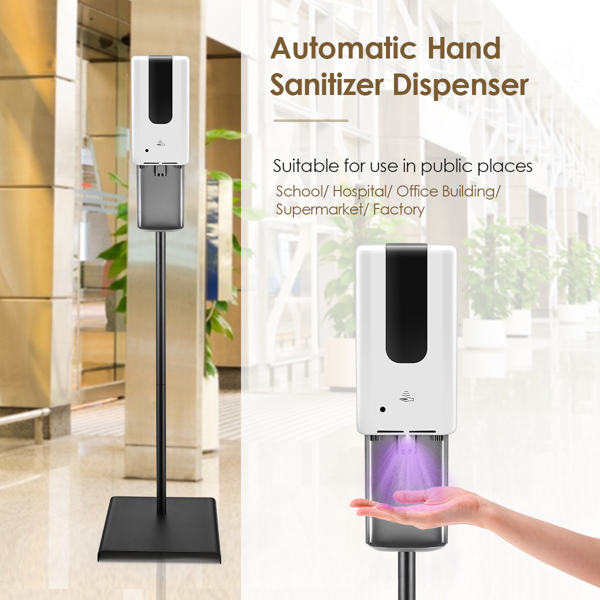 Height-Adjustable Automatic Hand Sanitizer Dispenser 1200mlwith Durable Floor Stand Sanitizer Dispenser Stand