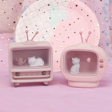 New Cute Cat Light Pink Color Baby Kids Battery Resin Material Warm Bedroom Mini Lamp Home