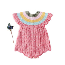 2019 Autumn Winter New Born Babies Rompers Rainbow Neckline For Girls Infant Baby Girl Clothes Kids Onesies Cute Jump