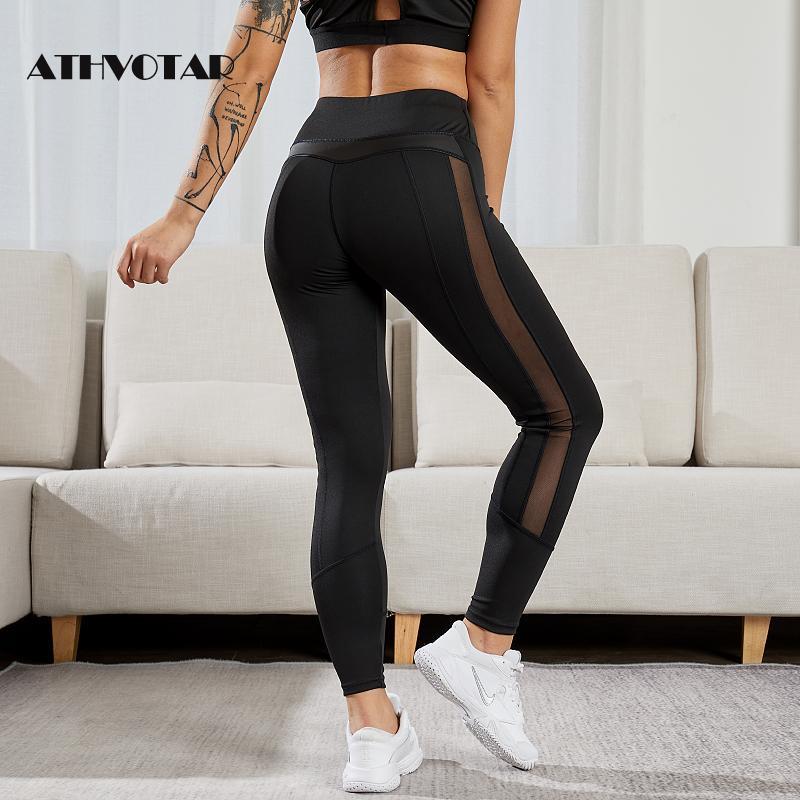 ATHVOTAR-mallas Push Up de cuero sintético para mujer, Leggings elásticos de malla, de cintura alta, para correr