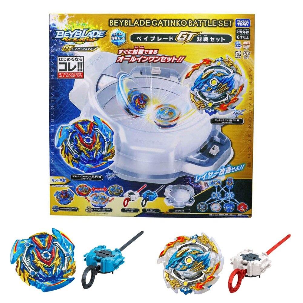 Takara Tomy Beyblade Arena Original Bey lame rafale B-136 attaque GT 2 pièces Gyro jouets Pack lanceur toupie enfants cadeaux
