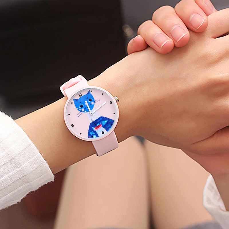 Jelly macio bonito gato doce cor menina relógio de personalidade feminino relógio namorada estudante relógios para crianças presentes de natal