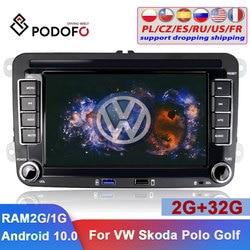 Podofo 2Din автомобильный Радио Android автомобильный GPS мультимедийный плеер 7 ''авторадио для VW Volkswagen Skoda Seat Polo Passat Tiguan автомобильный стерео