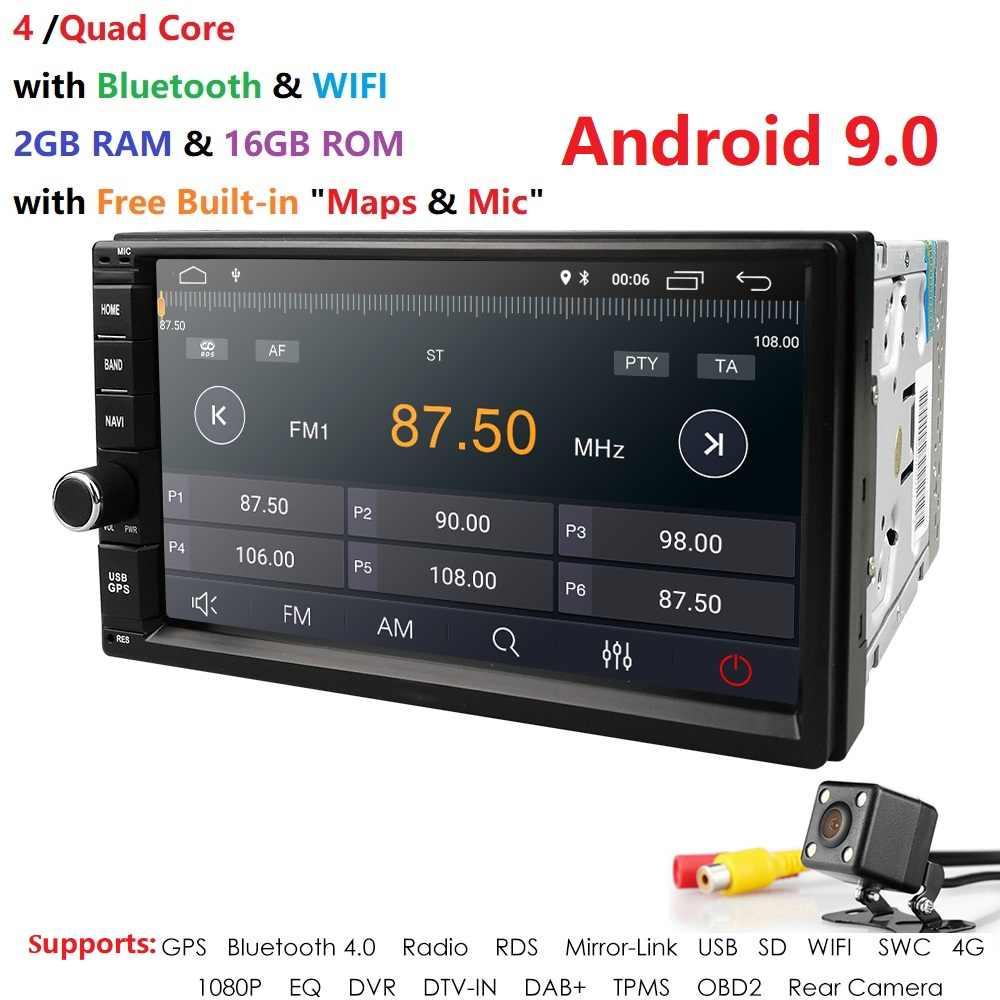 クアッドコアアンドロイド 9.0 2 グラム RAM 16 グラム ROM サポート 4 グラム WIFI ネットワーク車の Gps 2 din ユニバーサル車なし DVD ラジオプレーヤー 1080 1080P DVR DAB + TPMS