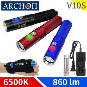 Фонарик ARCHON V10S 6500K, профессиональный светодиодный фонарик для дайвинга с чипом CREE, портативный фонарик для дайвинга