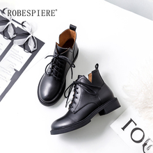 ROBESPIERE New Round Toe Ankle Boots For Women Lace Up Black Shoes Winter Warm Plush Platform Waterproof Western B52