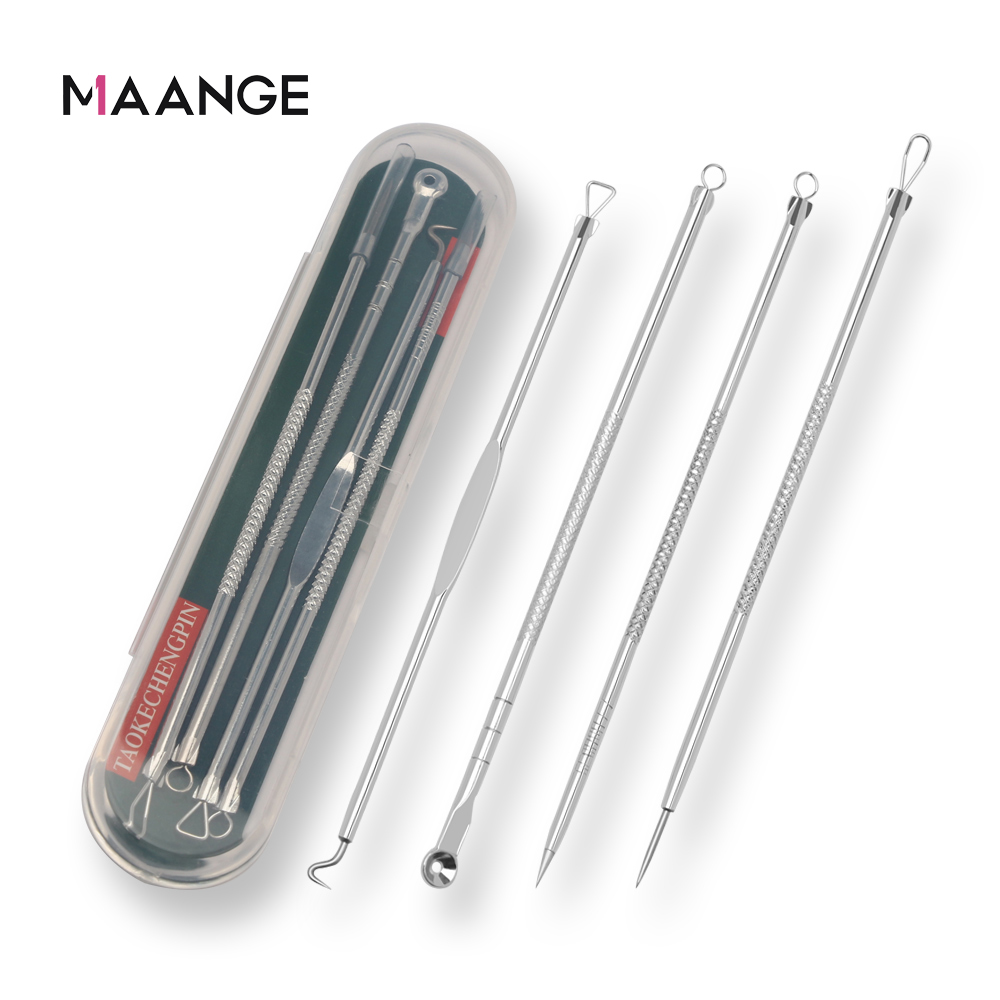 MAANGE 4Pc/Set Stainless Steel Blackhead Removal Kit Acne Blemish Pimple Extractor Remover Needles Cosmetic Face Cleaning Tool