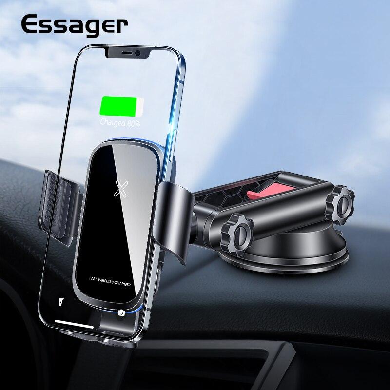 Essager 15W Qi voiture chargeur sans fil pour iPhone 12 Samsung Xiaomi mi Induction voiture montage rapide sans fil charge voiture support de téléphone