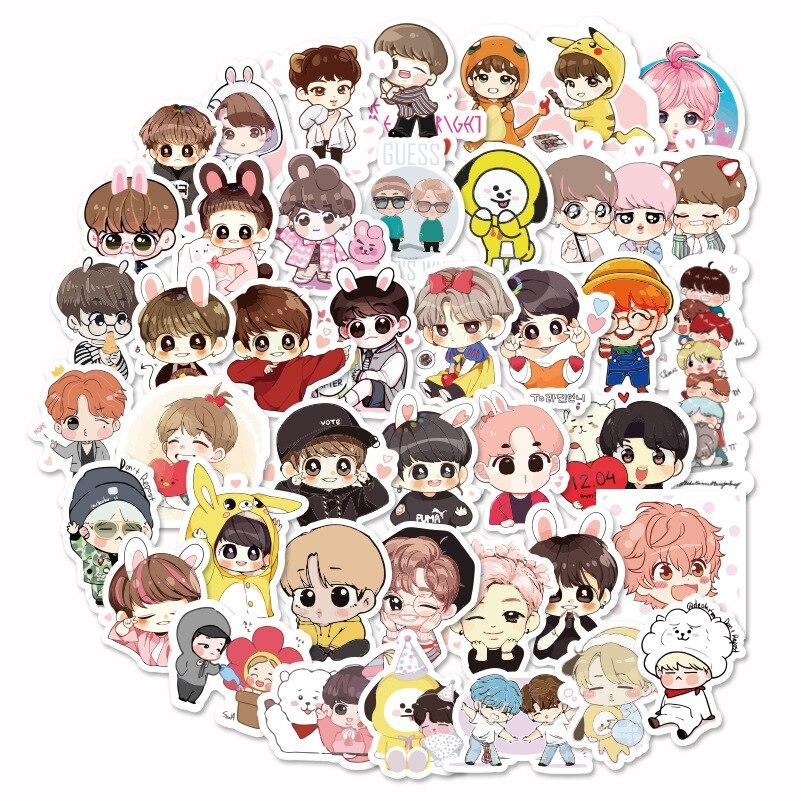 40 Pieces Of K Pop Korean Set Bangtan Boys Kawaii Pegatinas Stickers Hand Account Sticker Pack Girl Stickers Cartoon Stickers