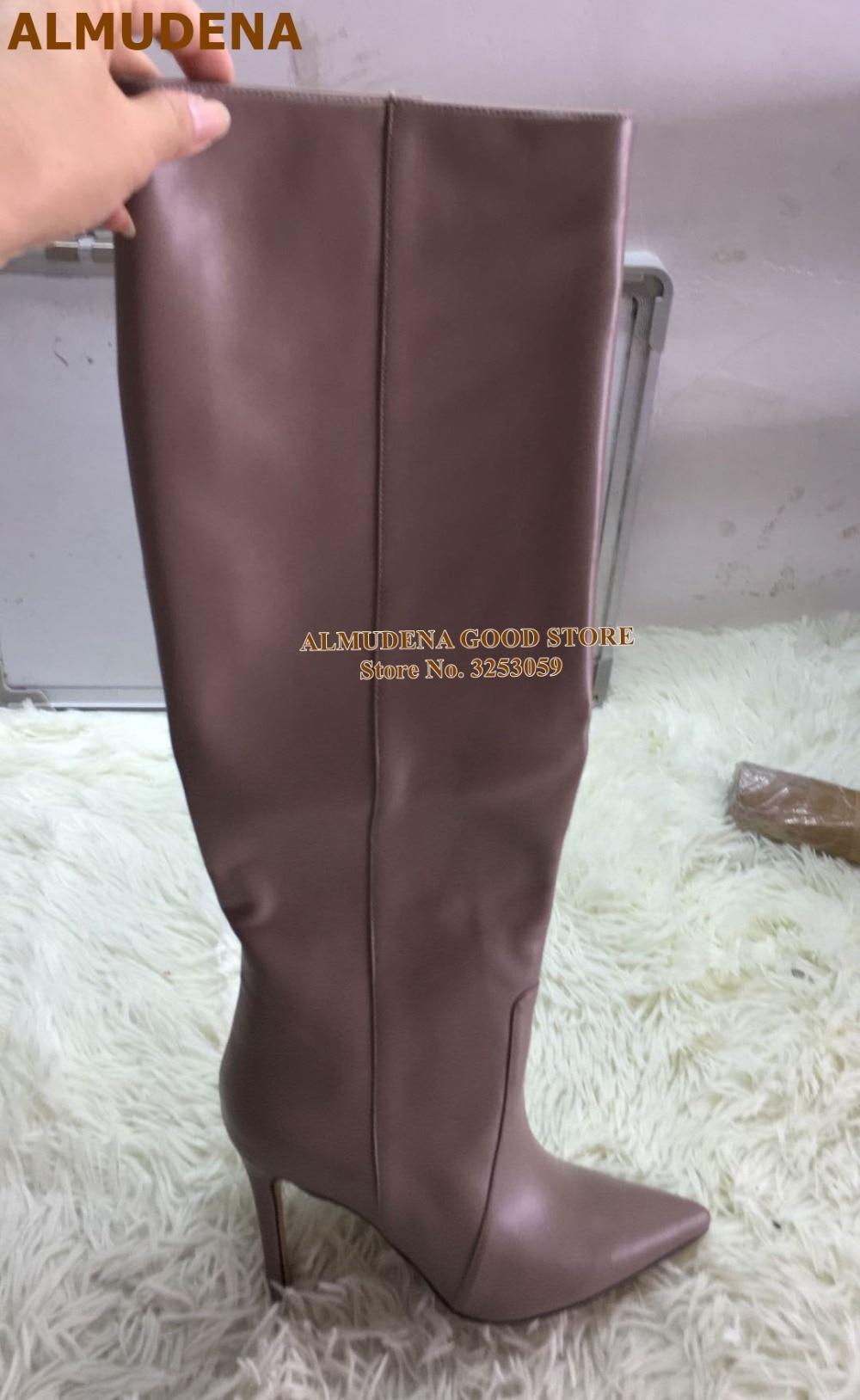 1910S1148 咖啡色羊皮细高跟尖头及膝靴 精品鞋9-230