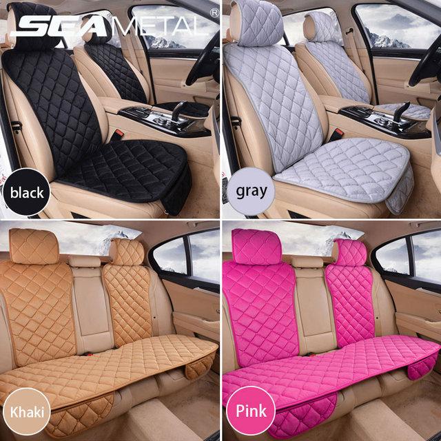 자동차 좌석 커버 보호자 세트 유니버설 자동 전면 후면 의자 쿠션 패드 따뜻한 플러시 자동차 좌석 커버 매트 자동차 액세서리
