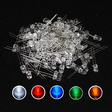500pcs/lot 20Ma F5 5MM Long Lead Transparent Ultra Bright White LED Diode kit  5Colors Red White Yellow Green Blue