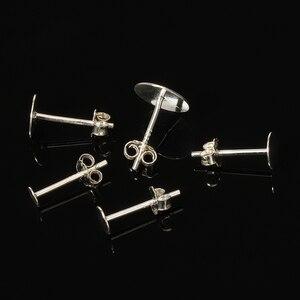 20 штук пакет 925 пробы серебряные серьги настройки 3/4/5/6 мм пустая круглая основа кабошон шпильки плоские базовые посты чистое серебро серьги