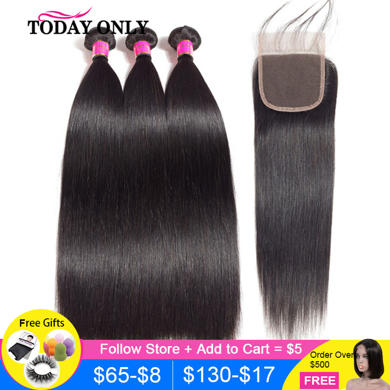 TODAY ONLY Brazilian Hair Weave Bundles With Closure Straight Hair 3 Bundles With Closure Remy Human Hair Bundles With Closure