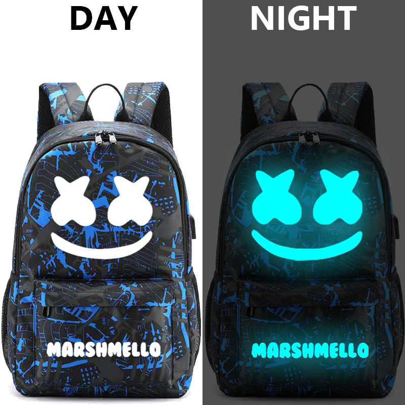 Image 4 - Canvas Luminous Waterproof DJ Marshmello Anti theft Laptop Backpack for Teenager Boys Girls Student School Backpack Men Womenbag-in Backpacks from Luggage & Bags