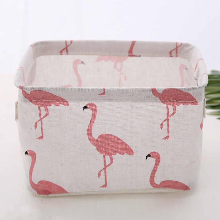 Cesta de Armazenamento De Desktop Bonito Flamingo Impermeável Organizador de Linho de Algodão Saco de Armazenamento De Underwear Caixa de Armazenamento de Artigos Diversos De Gabinete