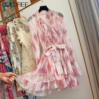 Bohemian Silk Playsuit 2020 Women Elegant Ruffles V neck Long Sleeve Pink Floral Print Rompers Summer Beach Jumpsuit