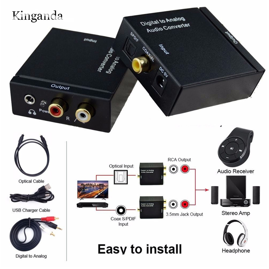 Digital <font><b>Audio</b></font> Signal to Analog Decoder SPDIF Converter Amplifier Coaxial <font><b>Optical</b></font> Fiber Toslink to RCA L/R <font><b>3.5mm</b></font> AUX <font><b>Jack</b></font> Adapter image