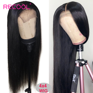 Image 2 - Recool 4X4 Lace Closure Wig Straight Lace Front Human Hair Wigs 200 Density 360 Full Lace Wig 28 30 Inch 13x6 Lace Wig Glueless