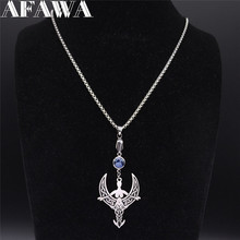 AFAWA Viking Moon Goddess Stainless Steel Necklaces Silver Color Necklace Pendant Jewelry collar acero inoxidable mujer N3293S01 summer mermaid stainless steel long necklace men women silver color necklace jewelry collar acero inoxidable mujer nzz5s03