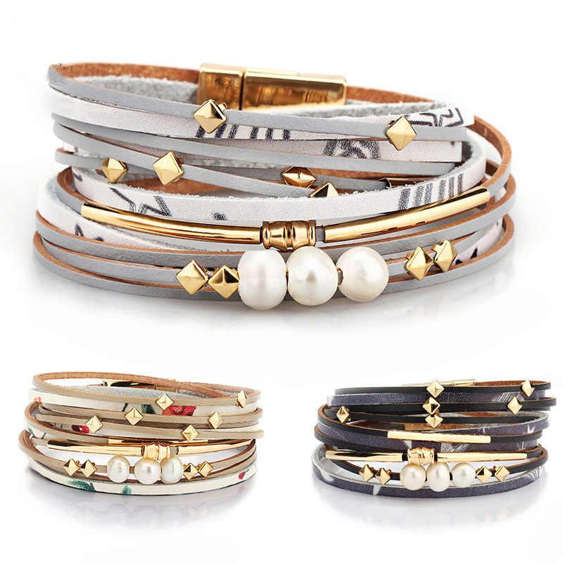 2020 Gevlochten Lederen Armband Voor Vrouwen Fashion Legering Magnetische Gesp Multilayer Wrap Vrouwelijke Parel Armband Sieraden Gift