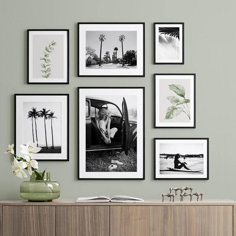 Siyah beyaz manzara yaz tropikal dekorasyon yeşil yaprak resim plaj Poster baskı manzara duvar sanatı tuval yağlıboya ev Dec