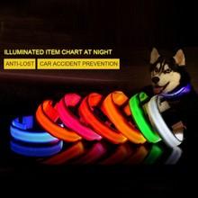 Зарядка через usb светодиодный ошейник анти-потерянный ошейник для собаки выдвижной ошейник LED снабжение товары для домашних животных