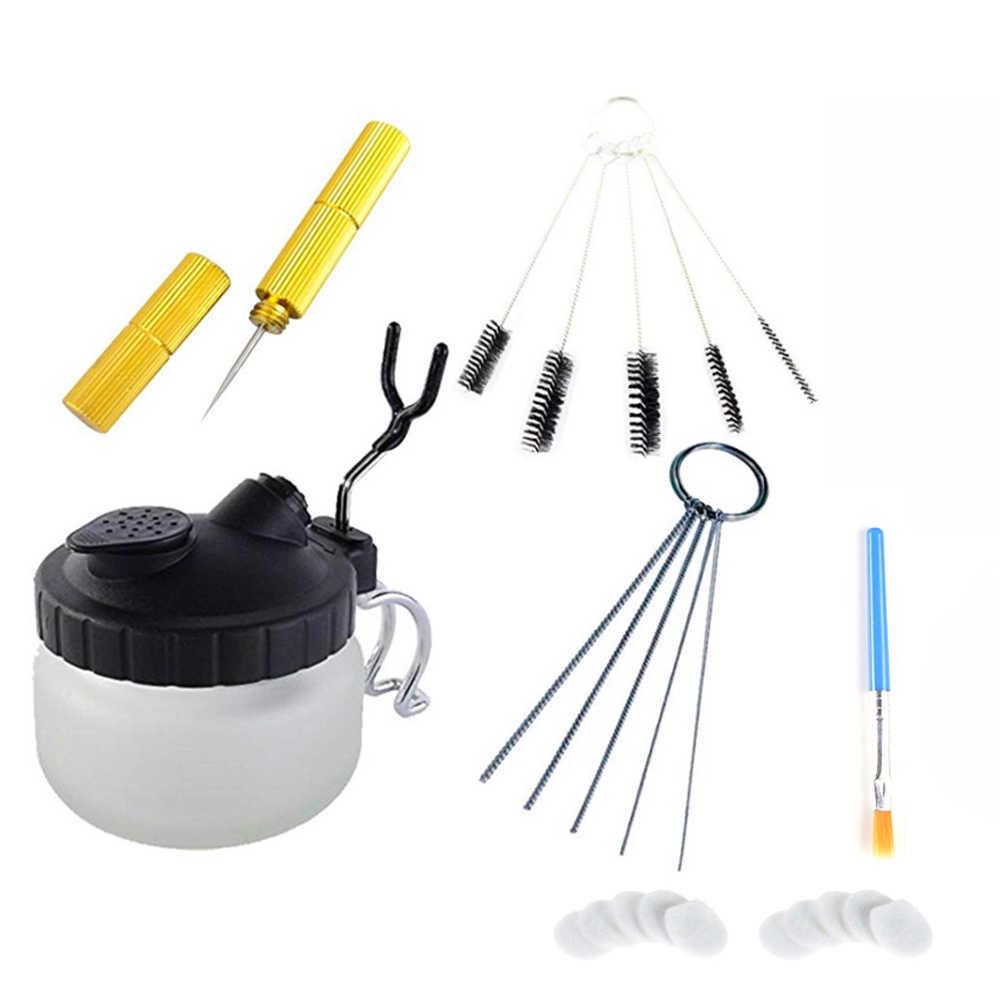 Airbrush Cleaning Pot Spray Gun Cleaner Kaca Air Sikat Pemegang Bersih Cat Botol Alat Bersih Jarum Nozzle Sikat Set