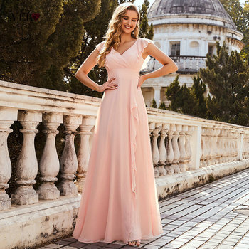 Pink Prom Dresses For Women Summer Ever Pretty Elegant A Line V Neck Long Chiffon Ruffles Wedding Party Dress With Side Split 2