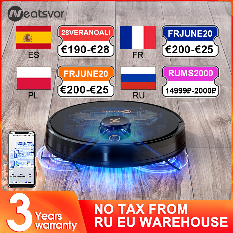 NEATSVOR X600 Pro laser navigation robot vacuum cleaner 6000PA strong suction map management Sweep floor and wipe floor in one