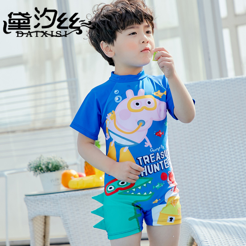 BOY'S Play With Water Service One-Piece Cartoon Blue Swimsuit 2018 New Style CHILDREN'S Swimsuit