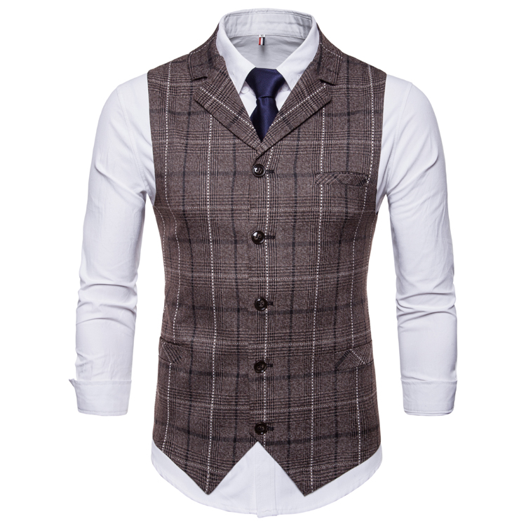 Hb48fedc1f9334c979cc2fe0737d44e47J - New Mens Vest Casual Business Men Suit Vests Male Lattice Waistcoat Fashion Mens Sleeveless Suit Vest Smart Casual Top Grey Blue