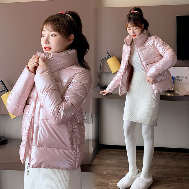 2021 Autumn Winter Women Parkas Jackets Casual Stand Collar Shiny fabric Thick Warm padded Coats Female Winter Outwear Jackets 4