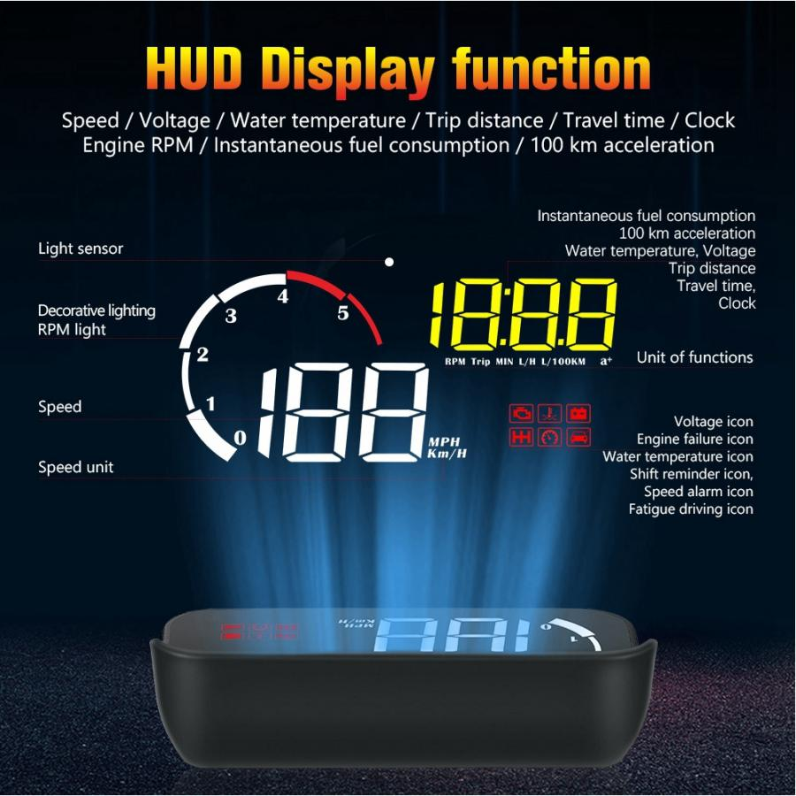 Car Head-Up Windshield Display,5.8in Advanced Windshield LED Projector HUD Display LED Digital Screen OBD//GPS Overspeed Warning System