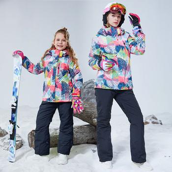 Matka i córka zestaw snowboardowy damska kurtka narciarska i spodnie dziewczęce dzieci Snowboard płaszcz i spodnie zimowe ubrania śnieżne tanie i dobre opinie NoEnName_Null CN (pochodzenie) NYLON WOMEN Z kapturem Skiing Dobrze pasuje do rozmiaru wybierz swój normalny rozmiar Kurtki