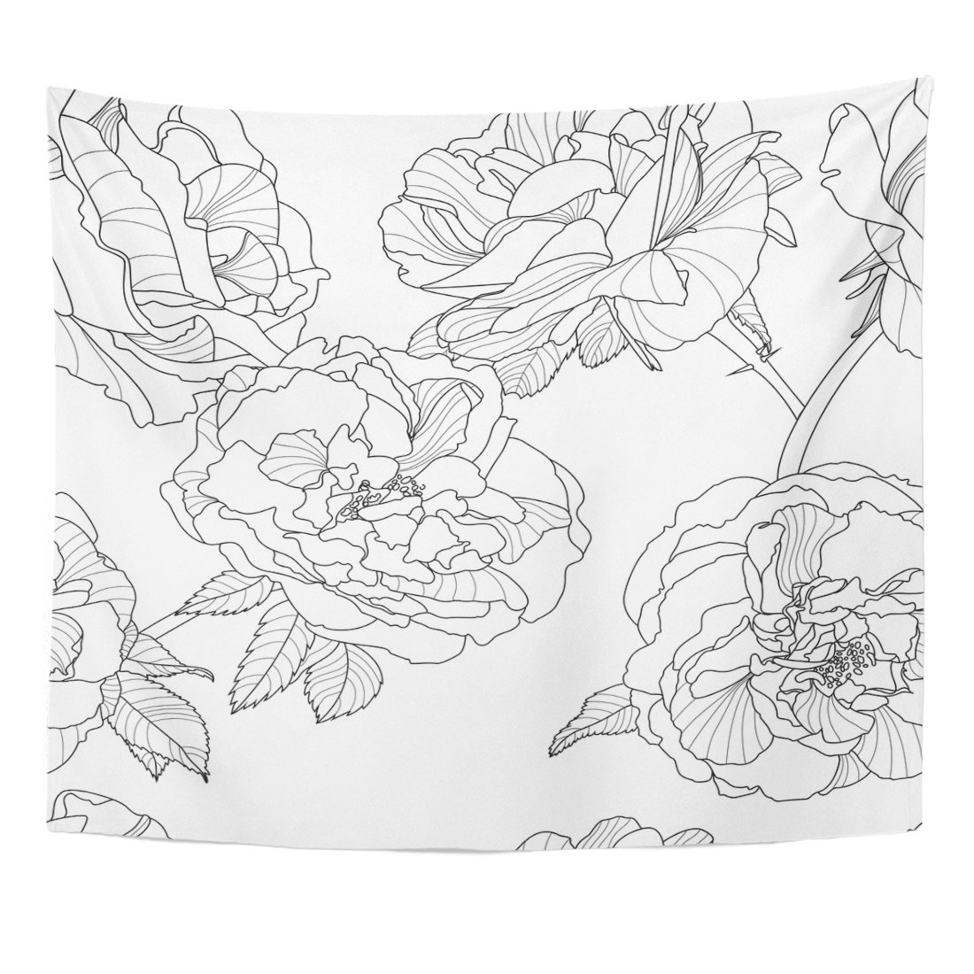 Line Floral Black And White With Outline Rose Flowers Design Linear Tapestry Home Decor Wall Hanging For Living Room Bedroom