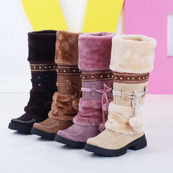 Women Mid Calf Boots Chaussures Femme Winter Warm Plush Shoes Women Snow Boots Fringe Ladies Creepers High heel Botes Mujer cdaxilan new arrival snow boots women down thickened plush boots warmth legs mid calf boots mid heel wedges shoes ladies winter