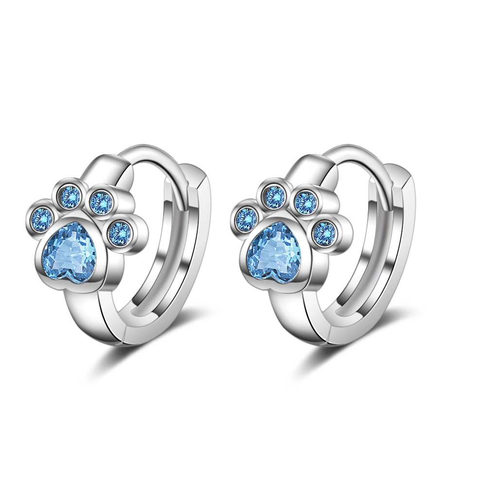 New Arrival Blue Cz Short Cat Claw Footprint Stud Earrings For Women Girl 925 Sterling Silver Wedding Jewelry Gift Pendientes