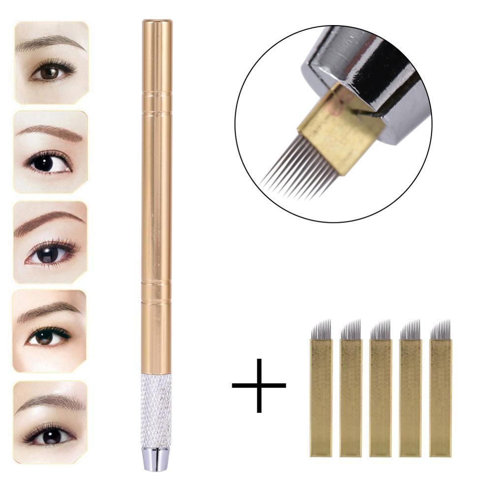 Manual 3D Eyebrow Tattoo Microblading Pen Permanent Makeup Gun Stainless steel Tattoo Supplies + 5Pcs 12 Pins Flat Blade Needles-in Tattoo Guns from Beauty & Health