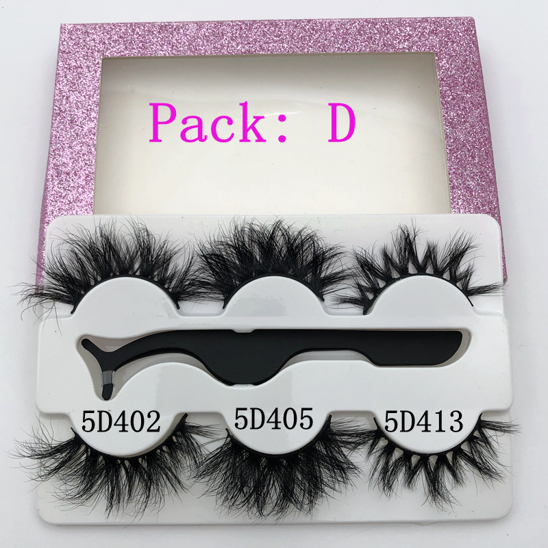 Mikiwi 3Pairs With Tweezers 3d Mink Eyelashes Thick Full Strip 3D Mink Lashes Makeup Dramatic Lashes  3 Pack 5D Mink Lashes