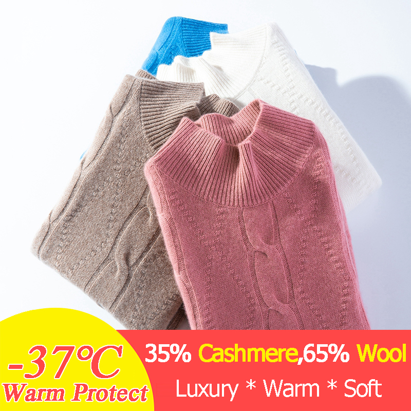 Réel pull en cachemire femmes épais hiver tricoté vêtements femmes Xxl tricots automne pull chaud Vintage diamant câble pull