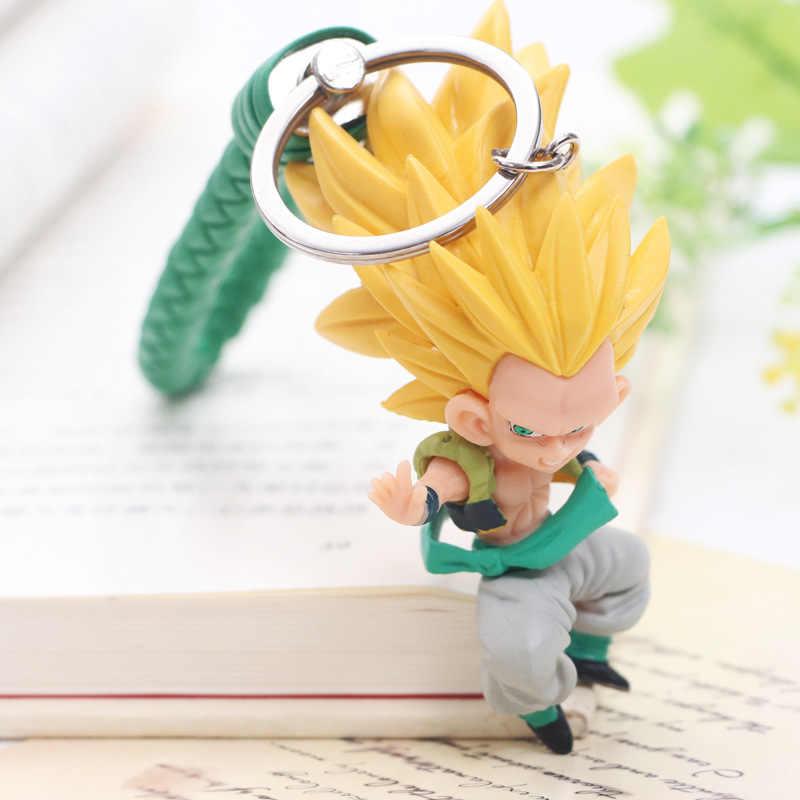 Dragon Ball Z 6pcs 8 CENTÍMETROS Chaveiro Son Goku Vegeta Trunks PVC Action Figure Anime Chave Modelo de Cadeia de Acessórios brinquedos Bonecas