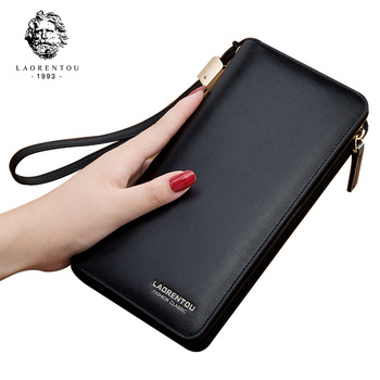 LAORENTOU Women Wallets Leather Long Purse for Female Large Capacity Card Holder Zipper Wallet Casual Ladies Purse Clutch Bag bentoy embroidery candy women clutch wallet hologram zipper leather wallet female metallic purse large organize bank card holder