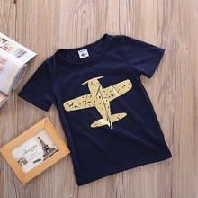 for Summer Baby Boy Cartoon T-shirt Novelty Short Sleeve Boy Kids Plane T-shirt Shirt Tops Casual Blosue 1-8Y(China)