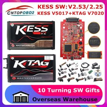 Online V2.53 EU Red KESS V2 V5.017 OBD2 Manager Tuning Kit KTAG V7.020 4 LED Online Master Version K-TAG V2.25 OBD2 Programmer
